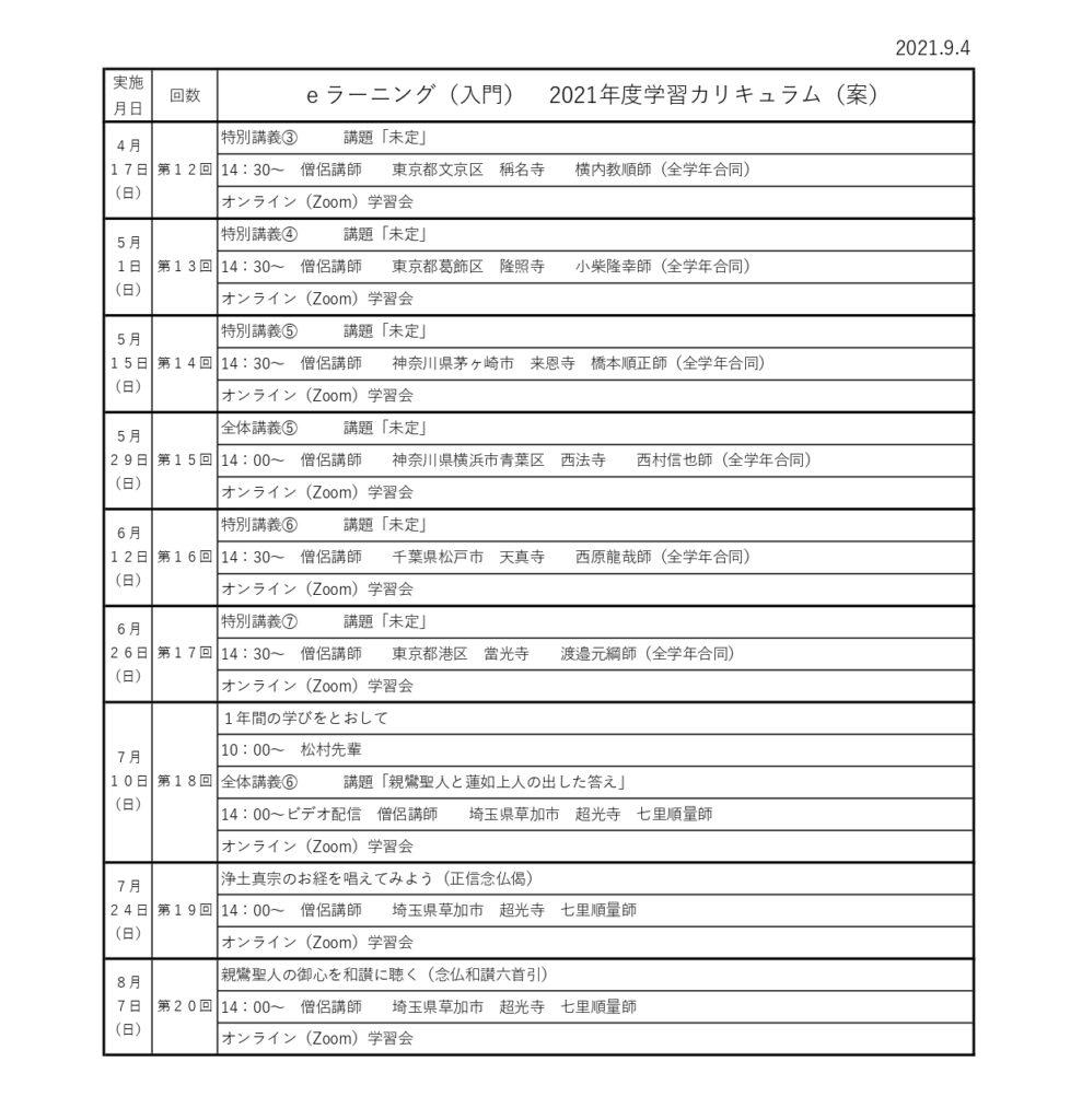 e-ランニング 東京地区つどいの会 学習日程案
